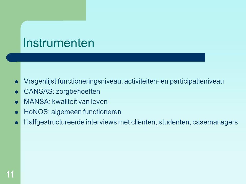 11 Instrumenten Vragenlijst functioneringsniveau: activiteiten- en participatieniveau CANSAS: zorgbehoeften MANSA: kwaliteit van leven HoNOS: algemeen functioneren Halfgestructureerde interviews met cliënten, studenten, casemanagers