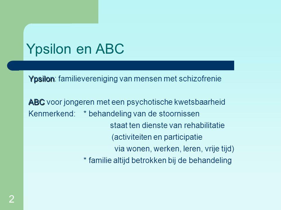 2 Ypsilon en ABC Ypsilon Ypsilon: familievereniging van mensen met schizofrenie ABC ABC voor jongeren met een psychotische kwetsbaarheid Kenmerkend: * behandeling van de stoornissen staat ten dienste van rehabilitatie (activiteiten en participatie via wonen, werken, leren, vrije tijd) * familie altijd betrokken bij de behandeling