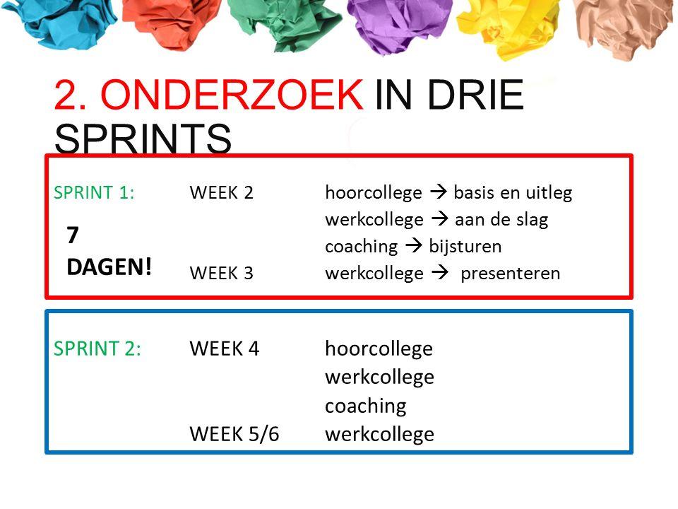 2. ONDERZOEK IN DRIE SPRINTS SPRINT 1: WEEK 2hoorcollege  basis en uitleg werkcollege  aan de slag coaching  bijsturen WEEK 3werkcollege  presente