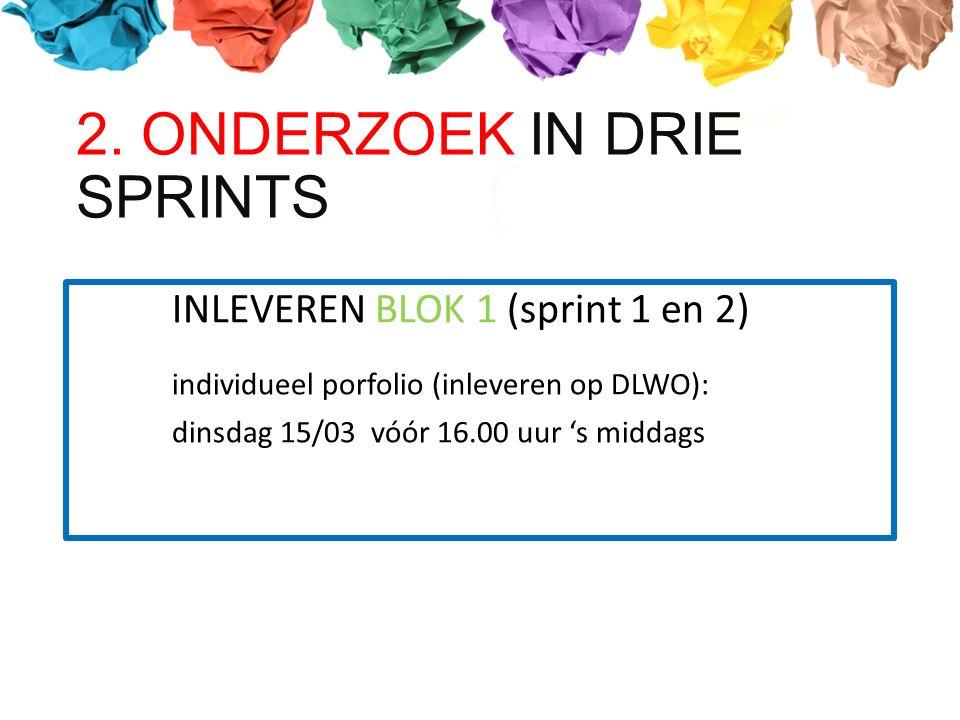 INLEVEREN BLOK 1 (sprint 1 en 2) individueel porfolio (inleveren op DLWO): dinsdag 15/03 vóór 16.00 uur 's middags 2.