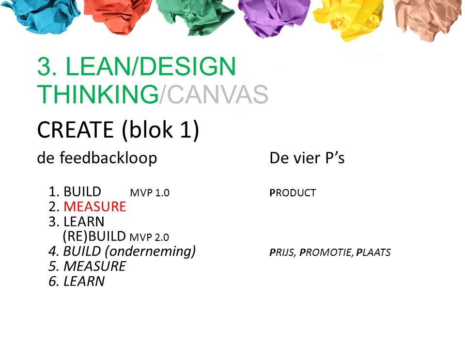 CREATE (blok 1) de feedbackloopDe vier P's 1. BUILD MVP 1.0 PRODUCT 2. MEASURE 3. LEARN (RE)BUILD MVP 2.0 4. BUILD (onderneming) PRIJS, PROMOTIE, PLAA