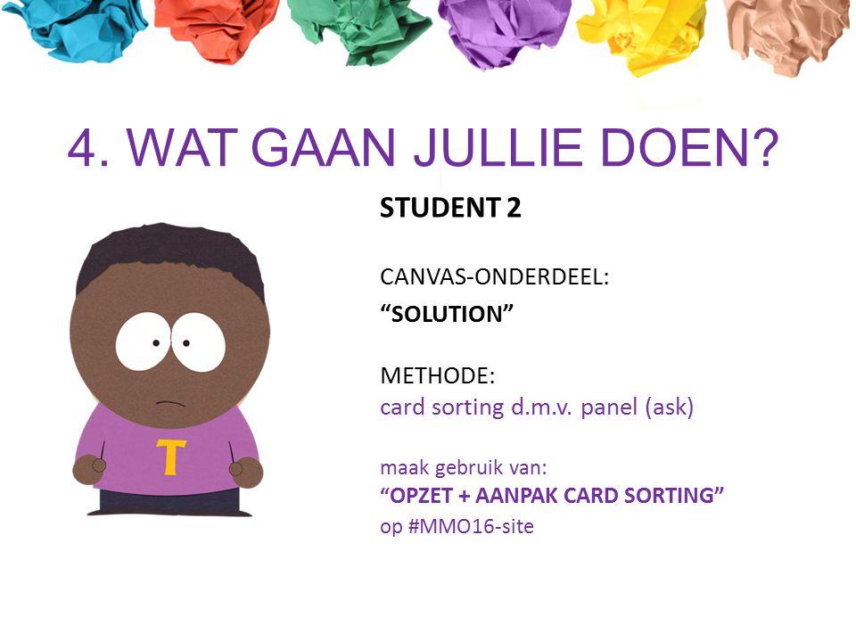 4. WAT GAAN JULLIE DOEN. STUDENT 2 CANVAS-ONDERDEEL: SOLUTION METHODE: card sorting d.m.v.