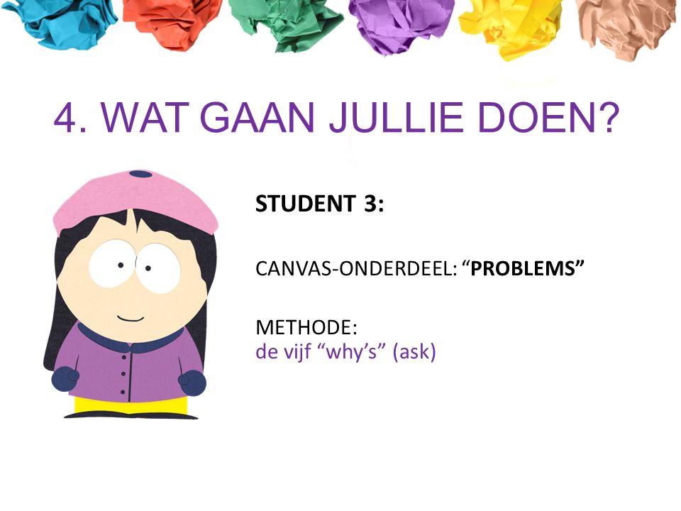 4. WAT GAAN JULLIE DOEN STUDENT 3: CANVAS-ONDERDEEL: PROBLEMS METHODE: de vijf why's (ask)