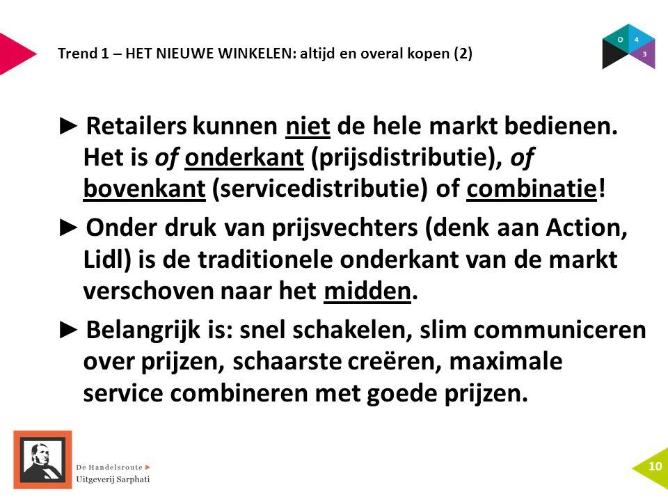 Trend 1 – HET NIEUWE WINKELEN: altijd en overal kopen (2) 10 ► Retailers kunnen niet de hele markt bedienen. Het is of onderkant (prijsdistributie), o