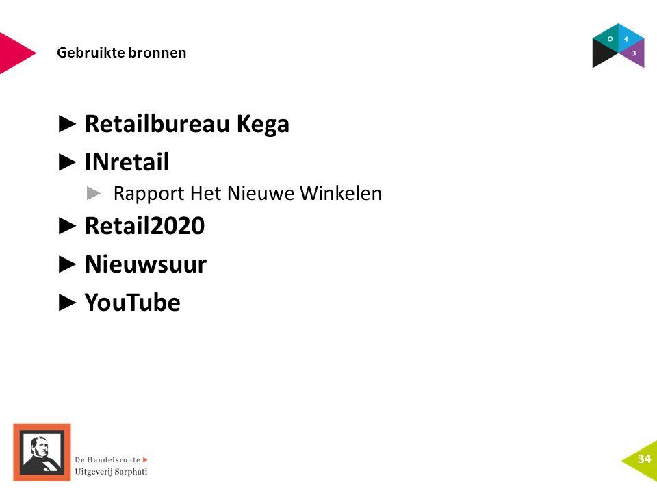 Gebruikte bronnen 34 ► Retailbureau Kega ► INretail ► Rapport Het Nieuwe Winkelen ► Retail2020 ► Nieuwsuur ► YouTube