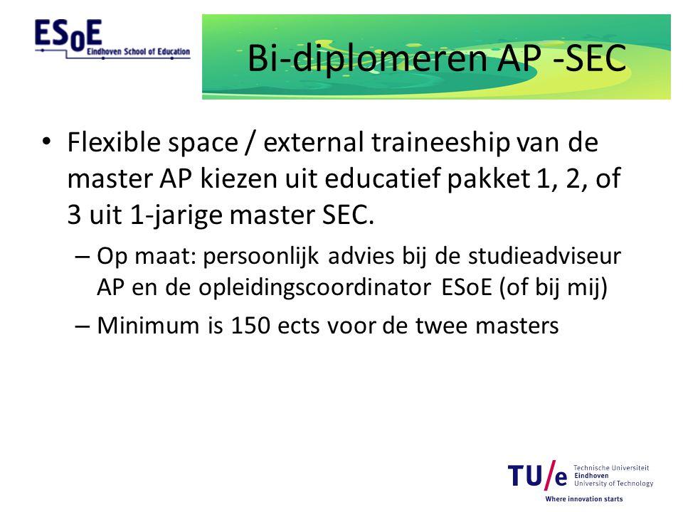 Bi-diplomeren AP -SEC Flexible space / external traineeship van de master AP kiezen uit educatief pakket 1, 2, of 3 uit 1-jarige master SEC.