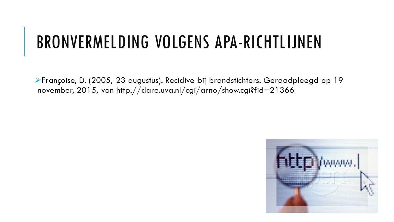 BRONVERMELDING VOLGENS APA-RICHTLIJNEN  Françoise, D.