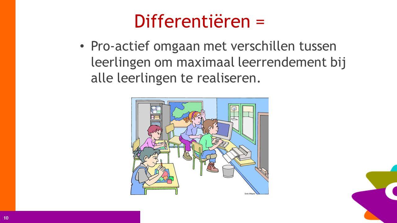 10 Differentiëren = Pro-actief omgaan met verschillen tussen leerlingen om maximaal leerrendement bij alle leerlingen te realiseren.