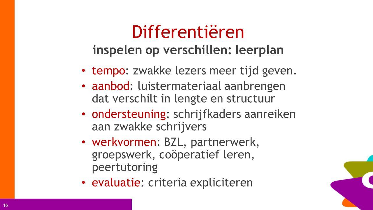 16 Differentiëren inspelen op verschillen: leerplan tempo: zwakke lezers meer tijd geven. aanbod: luistermateriaal aanbrengen dat verschilt in lengte