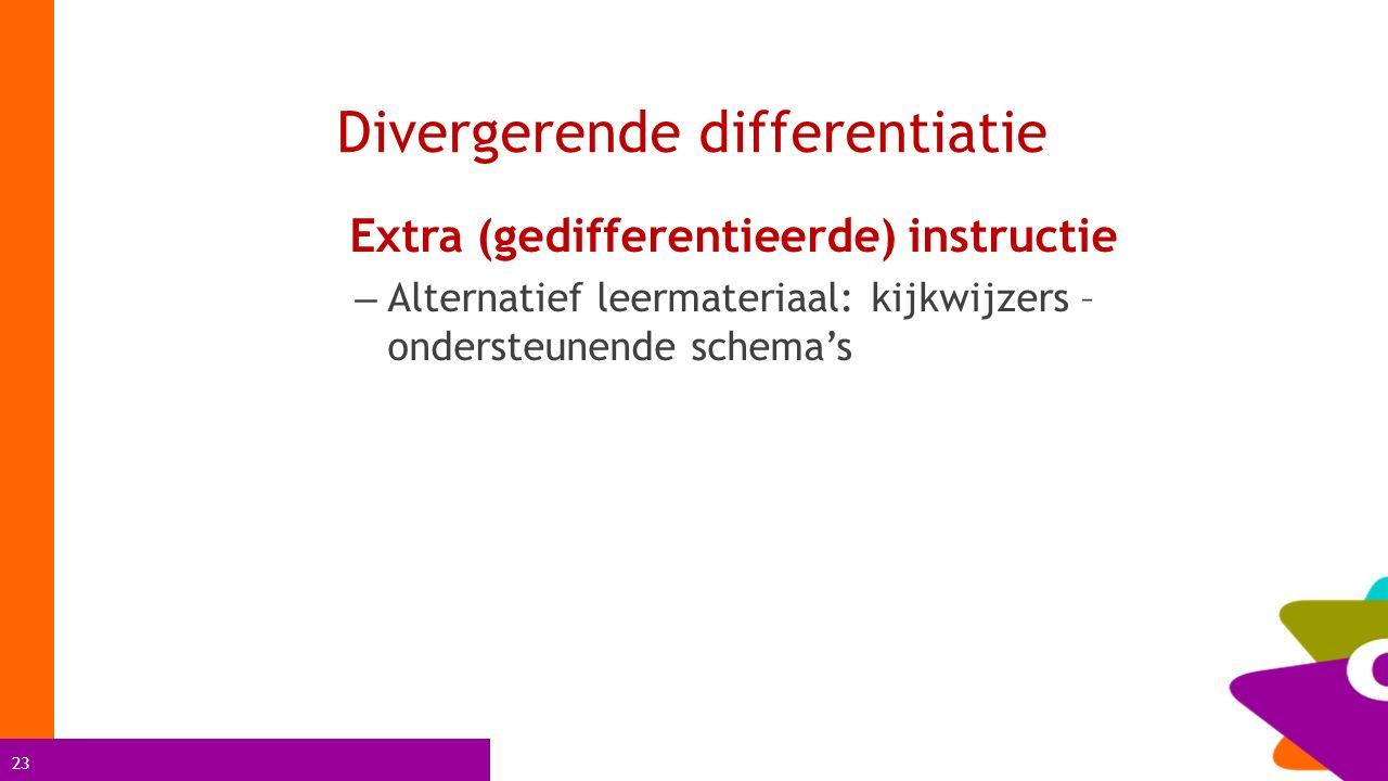 23 Divergerende differentiatie Extra (gedifferentieerde) instructie – Alternatief leermateriaal: kijkwijzers – ondersteunende schema's