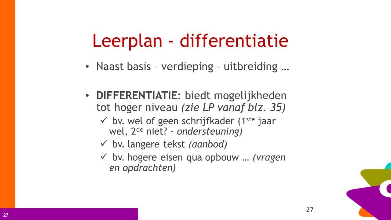27 Leerplan - differentiatie Naast basis – verdieping – uitbreiding … DIFFERENTIATIE: biedt mogelijkheden tot hoger niveau (zie LP vanaf blz. 35) bv.