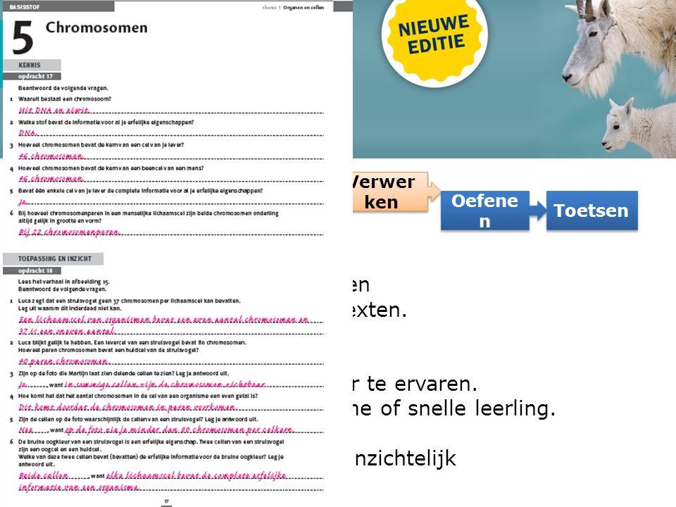 Leerproces Lesstof Oefene n Verwer ken Toetsen Nieuw: Uitdagender niveau opdrachten Meer opdrachten vanuit contexten.