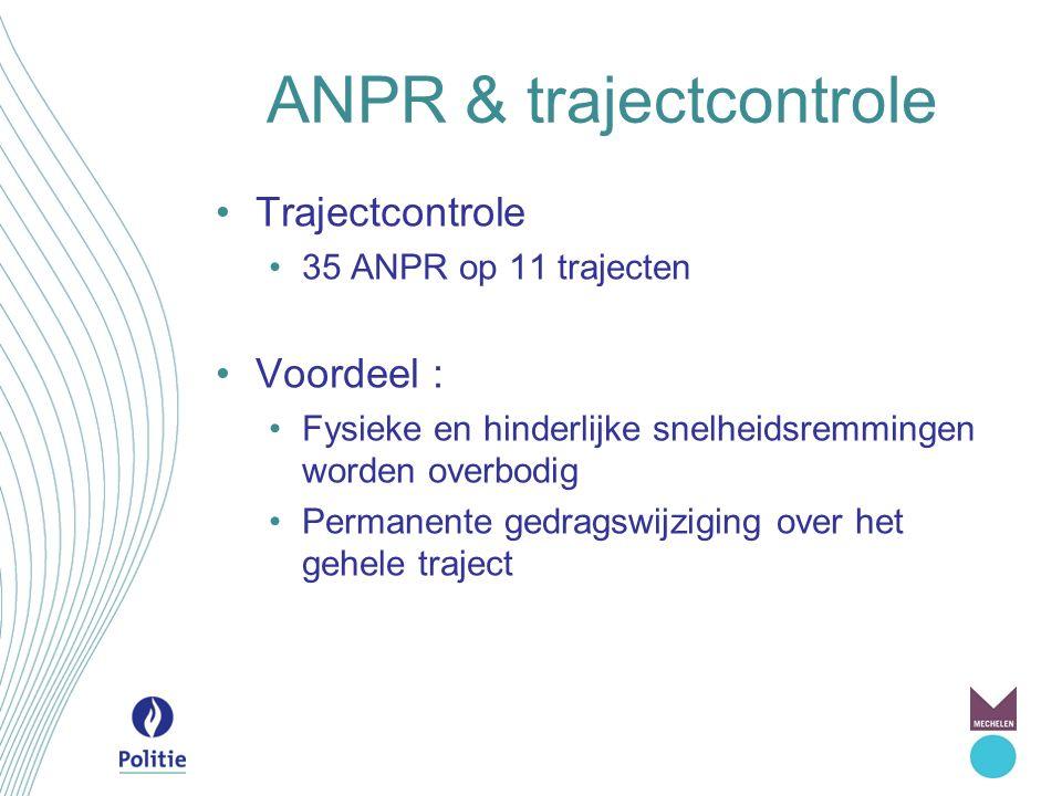 ANPR & trajectcontrole Trajectcontrole 35 ANPR op 11 trajecten Voordeel : Fysieke en hinderlijke snelheidsremmingen worden overbodig Permanente gedrag
