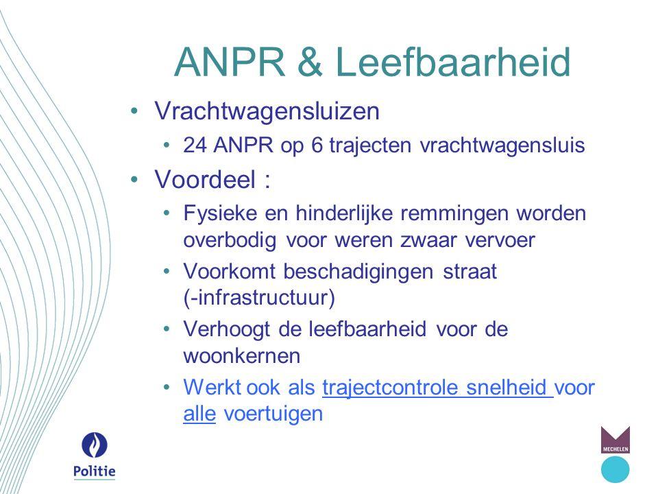 ANPR & Leefbaarheid Vrachtwagensluizen 24 ANPR op 6 trajecten vrachtwagensluis Voordeel : Fysieke en hinderlijke remmingen worden overbodig voor weren