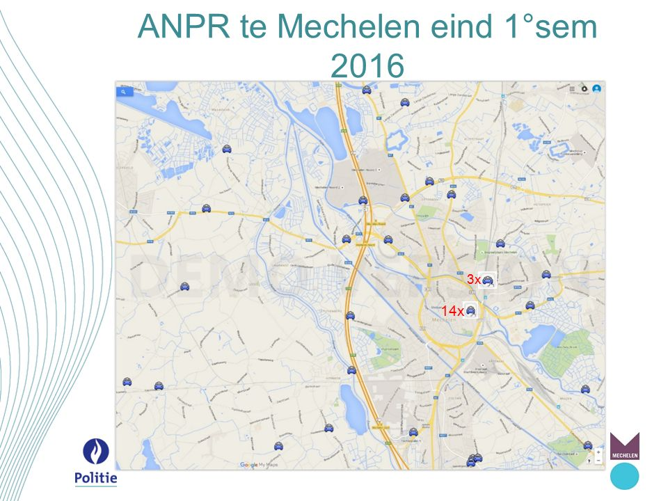 Evolutie ANPR in Mechelen 2016-2017 camera's / locaties 01/201607/20162017 Grens-verbindingsweg60 / 2663 / 2863 / 28* Autoluw11 /1114 / 13 Leefbaarheid - Nekkerspoel3 / 3 Verplaatsbaar3 / 3 Trajectcontrole35 / 11 * Leefbaarheid - vrachtwagensluis 24 / 6 * TOTAAL77 / 4383 / 45133 / 50 * * 8 camera's op 4 locaties worden zowel gebruikt bij grens- verbindingsweg als voor trajectcontrole en leefbaarheid