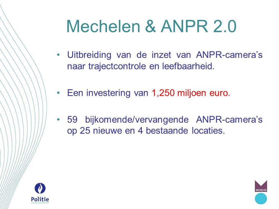 Mechelen & ANPR 2.0 Uitbreiding van de inzet van ANPR-camera's naar trajectcontrole en leefbaarheid. Een investering van 1,250 miljoen euro. 59 bijkom