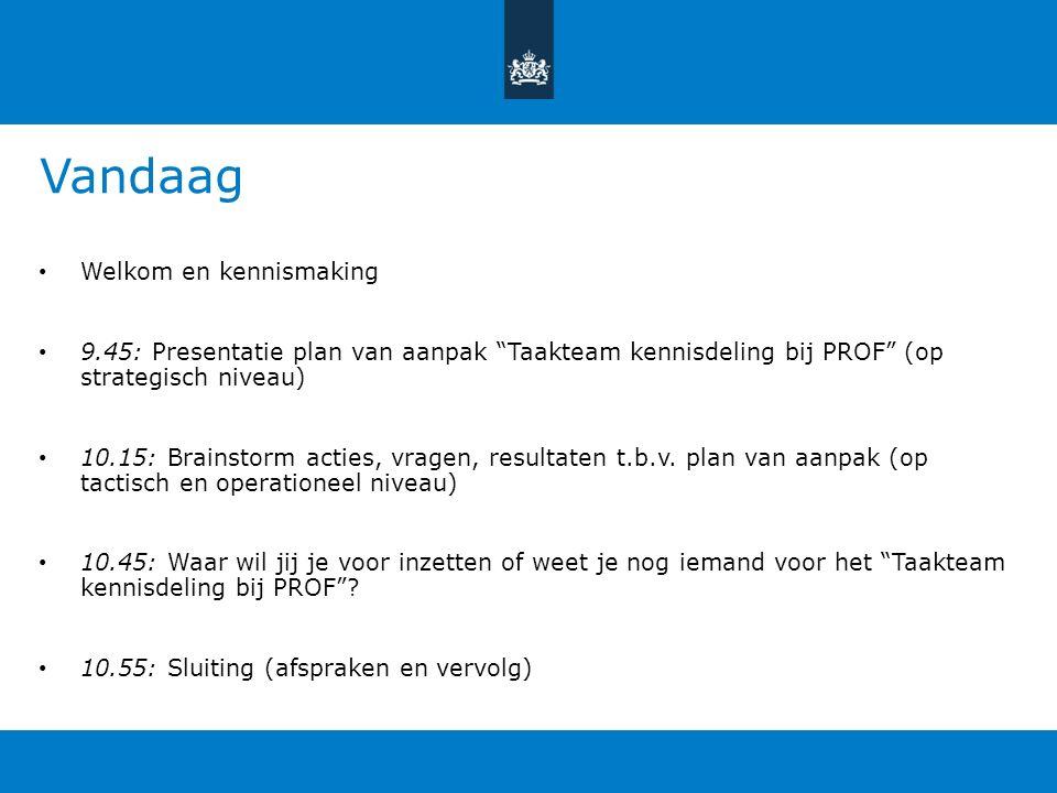 Vandaag Welkom en kennismaking 9.45: Presentatie plan van aanpak Taakteam kennisdeling bij PROF (op strategisch niveau) 10.15: Brainstorm acties, vragen, resultaten t.b.v.