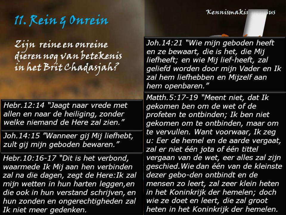"""11. Rein & Onrein Hebr.12:14 """"Jaagt naar vrede met allen en naar de heiliging, zonder welke niemand de Here zal zien."""" Joh.14:15 """"Wanneer gij Mij lief"""