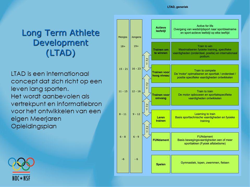 Long Term Athlete Development (LTAD) LTAD is een internationaal concept dat zich richt op een leven lang sporten. Het wordt aanbevolen als vertrekpunt