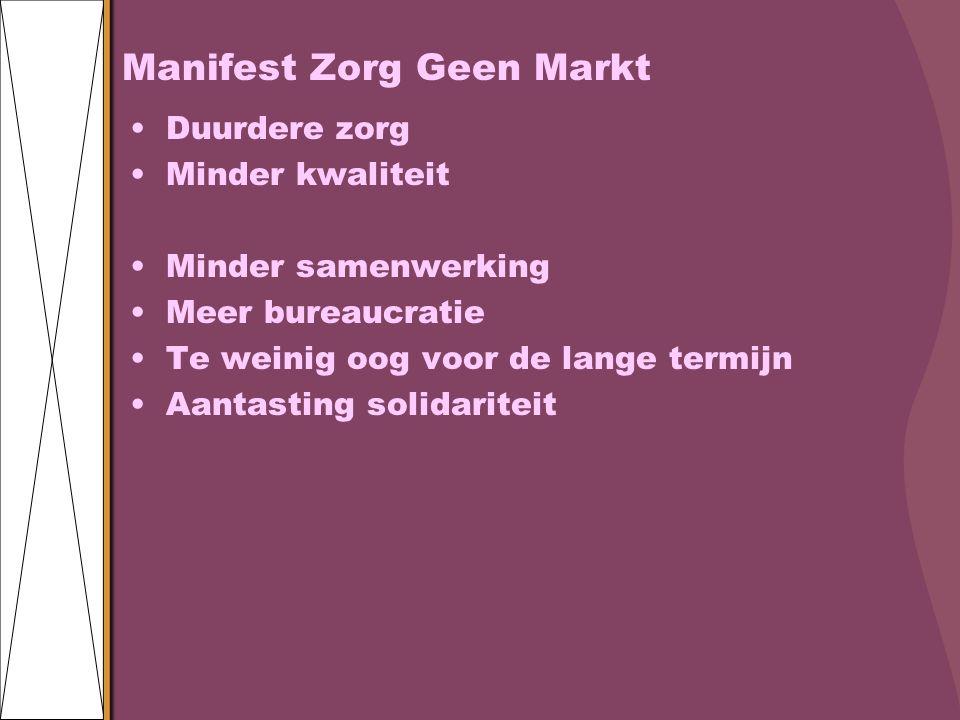 Manifest Zorg Geen Markt Duurdere zorg Minder kwaliteit Minder samenwerking Meer bureaucratie Te weinig oog voor de lange termijn Aantasting solidariteit