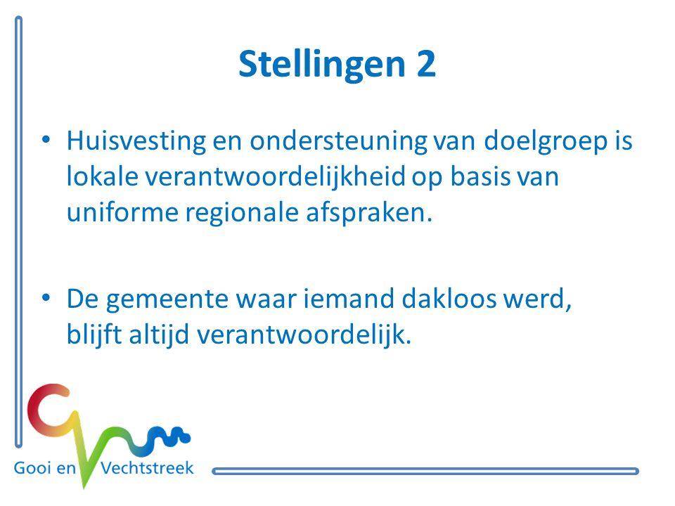 Stellingen 2 Huisvesting en ondersteuning van doelgroep is lokale verantwoordelijkheid op basis van uniforme regionale afspraken.