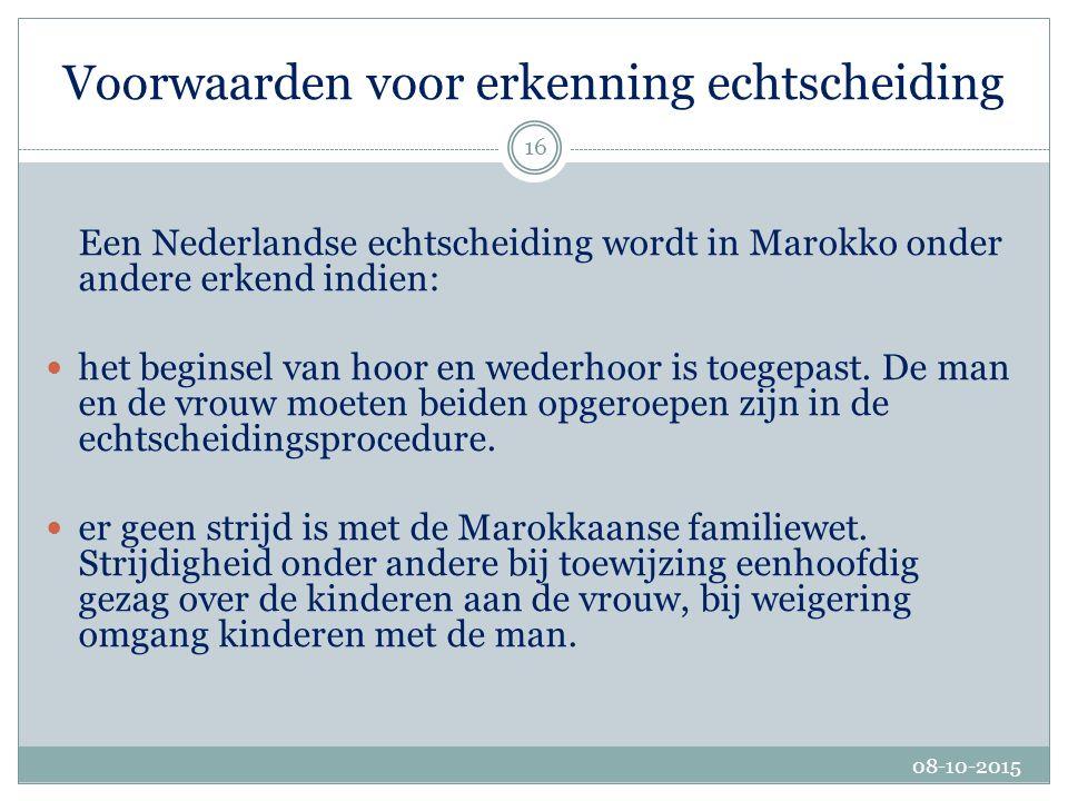 Belangrijkste wijziging echtscheiding Invoering van het beginsel van de echtscheiding wegens duurzame ontwrichting: Marokko kent nu, net als Nederland, ook de echtscheiding op grond van duurzame ontwrichting waardoor echtscheidingen uitgesproken door de Nederlandse rechter met toepassing van het Nederlandse recht makkelijker voor erkenning in Marokko in aanmerking komen.