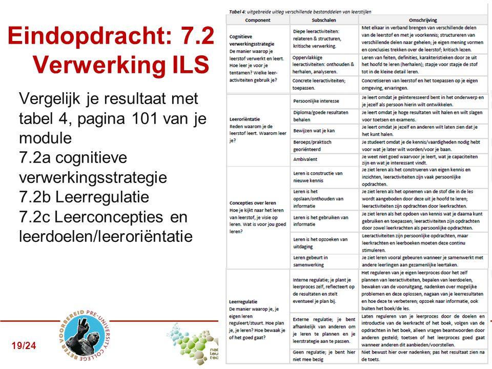 Vergelijk je resultaat met tabel 4, pagina 101 van je module 7.2a cognitieve verwerkingsstrategie 7.2b Leerregulatie 7.2c Leerconcepties en leerdoelen/leeroriëntatie Eindopdracht: 7.2 – Verwerking ILS 19/24
