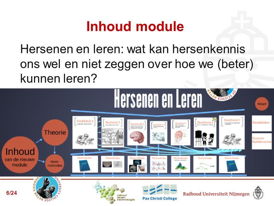 Inhoud module Hersenen en leren: wat kan hersenkennis ons wel en niet zeggen over hoe we (beter) kunnen leren? 6/24