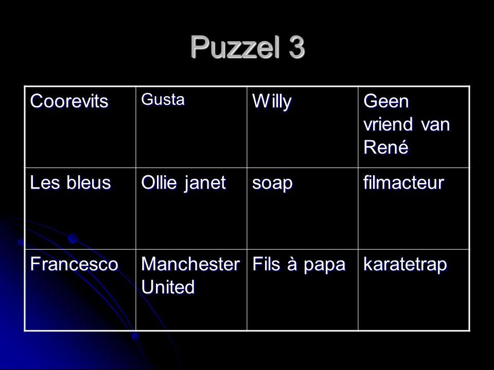 Puzzel 3 CoorevitsGustaWilly Geen vriend van René Les bleus Ollie janet soapfilmacteur Francesco Manchester United Fils à papa karatetrap