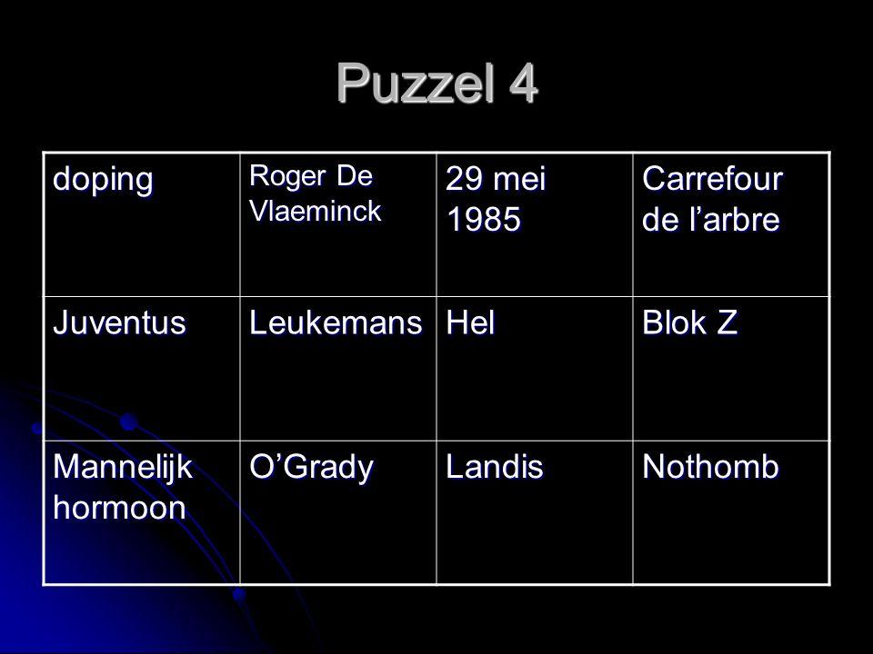 Puzzel 4 doping Roger De Vlaeminck 29 mei 1985 Carrefour de l'arbre JuventusLeukemansHel Blok Z Mannelijk hormoon O'GradyLandisNothomb
