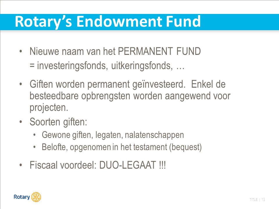 TITLE | 13 Rotary's Endowment Fund Nieuwe naam van het PERMANENT FUND = investeringsfonds, uitkeringsfonds, … Giften worden permanent geïnvesteerd.