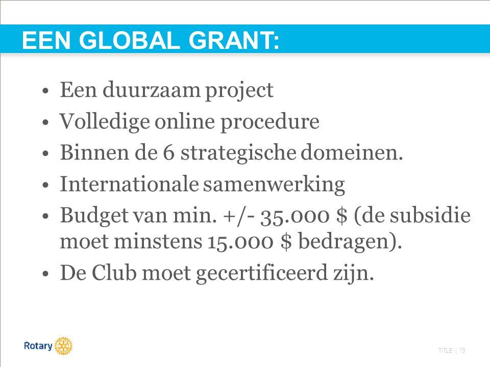 TITLE | 19 Een duurzaam project Volledige online procedure Binnen de 6 strategische domeinen. Internationale samenwerking Budget van min. +/- 35.000 $