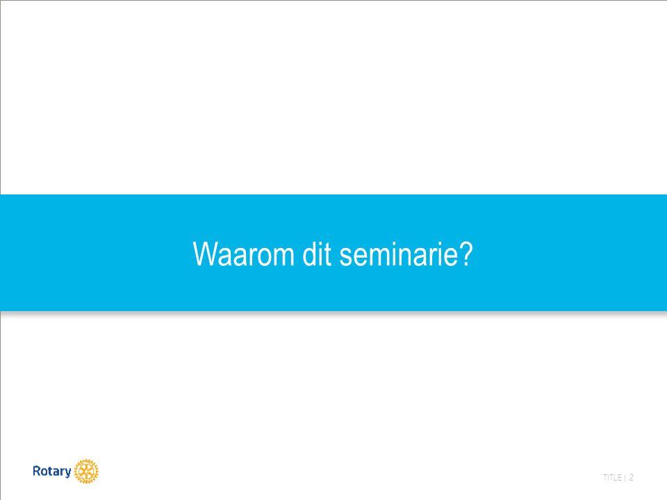TITLE | 2 Waarom dit seminarie?