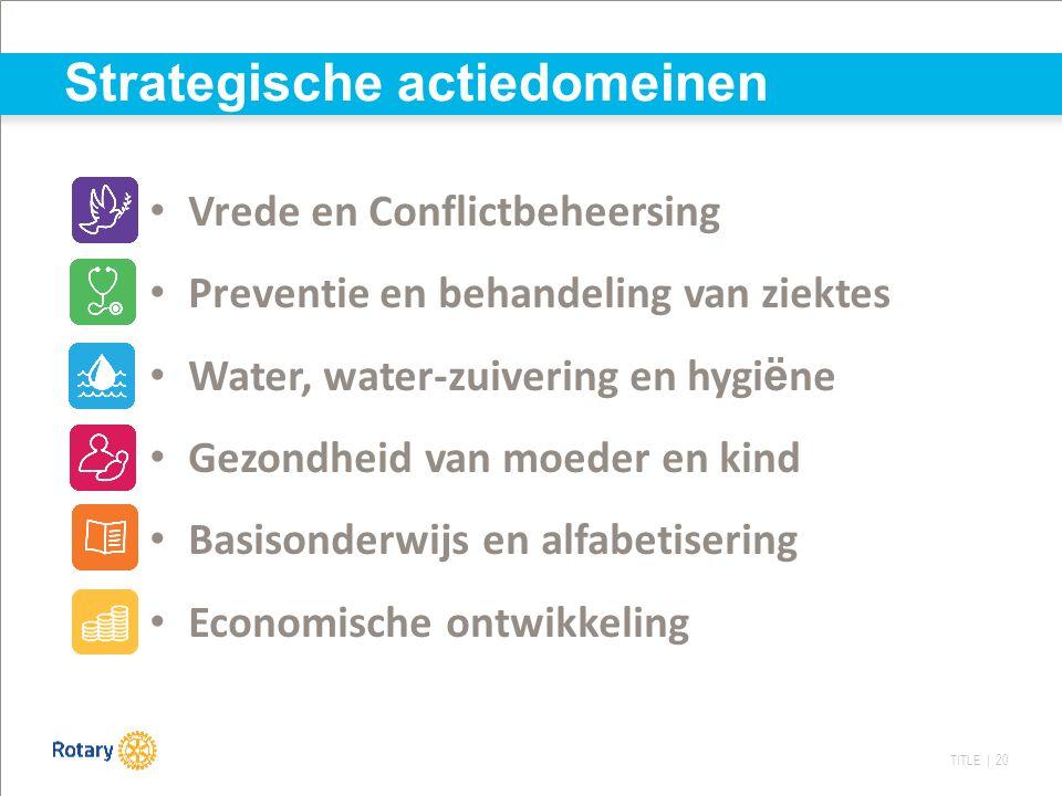 TITLE | 20 Vrede en Conflictbeheersing Preventie en behandeling van ziektes Water, water-zuivering en hygi ë ne Gezondheid van moeder en kind Basisond