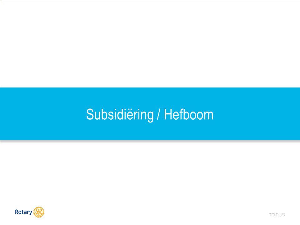 TITLE | 23 Subsidiëring / Hefboom