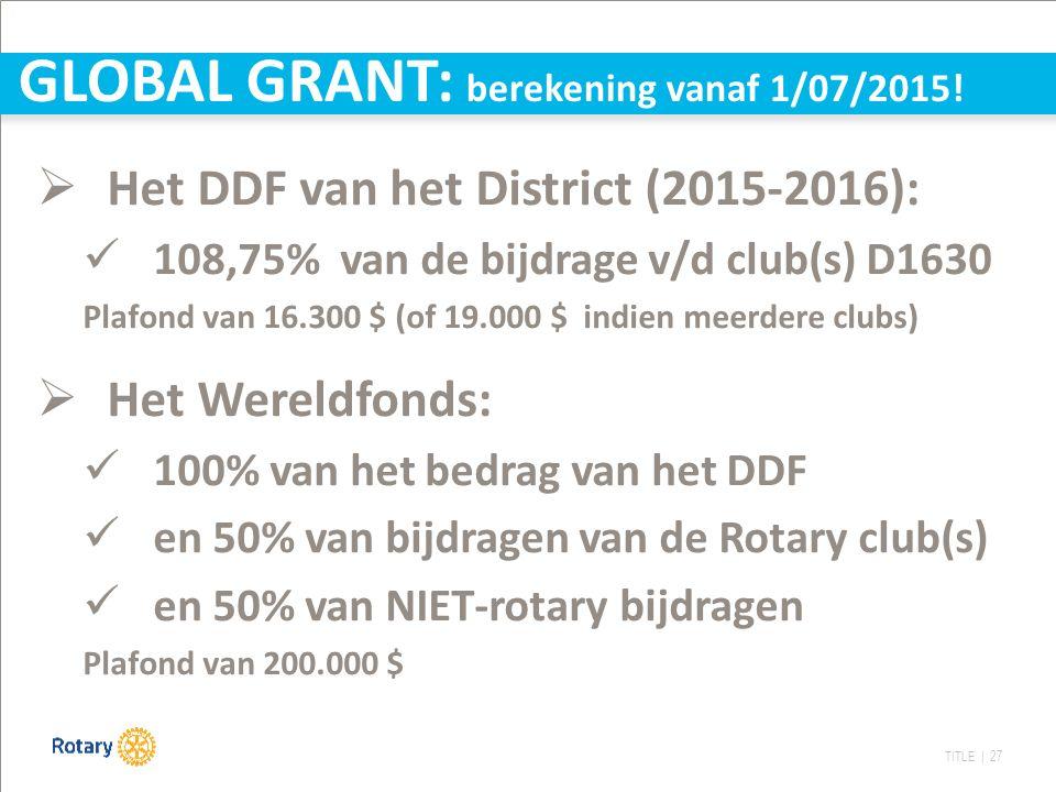 TITLE | 27 GLOBAL GRANT: berekening vanaf 1/07/2015!  Het DDF van het District (2015-2016): 108,75% van de bijdrage v/d club(s) D1630 Plafond van 16.