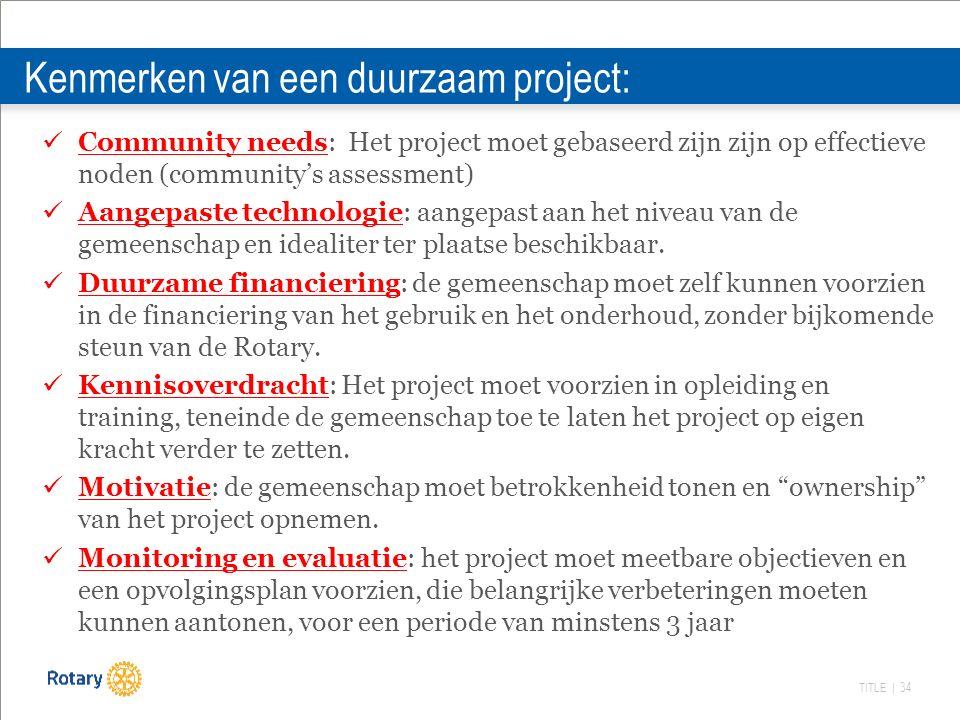 TITLE | 34 Kenmerken van een duurzaam project: Community needs: Het project moet gebaseerd zijn zijn op effectieve noden (community's assessment) Aangepaste technologie: aangepast aan het niveau van de gemeenschap en idealiter ter plaatse beschikbaar.