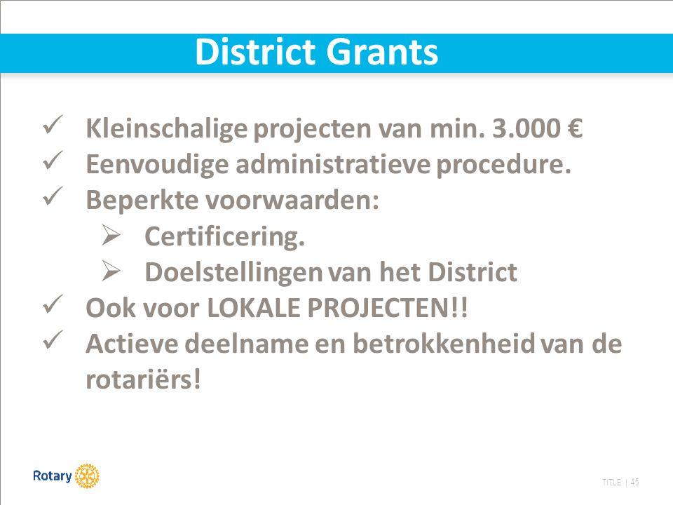 TITLE | 45 Kleinschalige projecten van min. 3.000 € Eenvoudige administratieve procedure. Beperkte voorwaarden:  Certificering.  Doelstellingen van