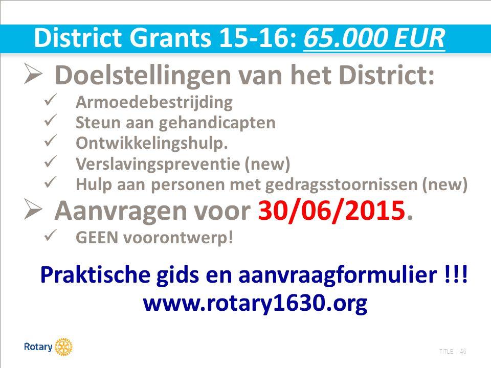 TITLE | 46  Doelstellingen van het District: Armoedebestrijding Steun aan gehandicapten Ontwikkelingshulp. Verslavingspreventie (new) Hulp aan person