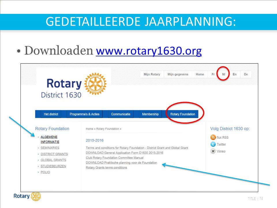 TITLE | 74 GEDETAILLEERDE JAARPLANNING: Downloaden www.rotary1630.org www.rotary1630.org