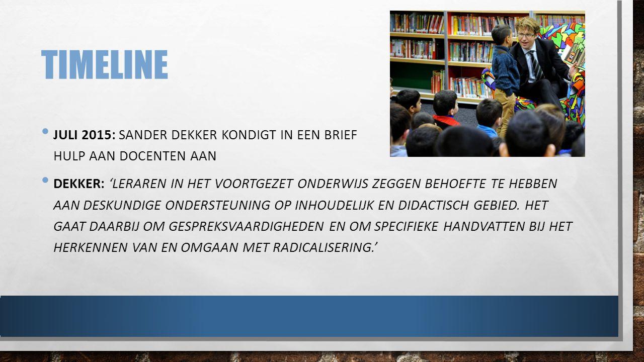 TIMELINE 23 SEPTEMBER 2015: HOORZITTING BURGERSCHAPSVORMING IN DE TWEEDE KAMER 1 FEBRUARI 2016: RAPPORT 'TWEE WERELDEN, TWEE WERKELIJKHEDEN' BUSSEMAKER DEZE WEEK IN DE GROENE: 'VEEL DOCENTEN ERVAREN EEN GEBREK AAN LEIDING ALS HET OM RADICALISERING GAAT' & 'BURGERSCHAPSVORMING EN HET TEGENGAAN VAN RADICALISERING IS MEER DAN HET GEVEN VAN LESSEN OVER DE RECHTSSTAAT, HOE HET PARLEMENT WERKT, WAT DE GRONDRECHTEN ZIJN.'