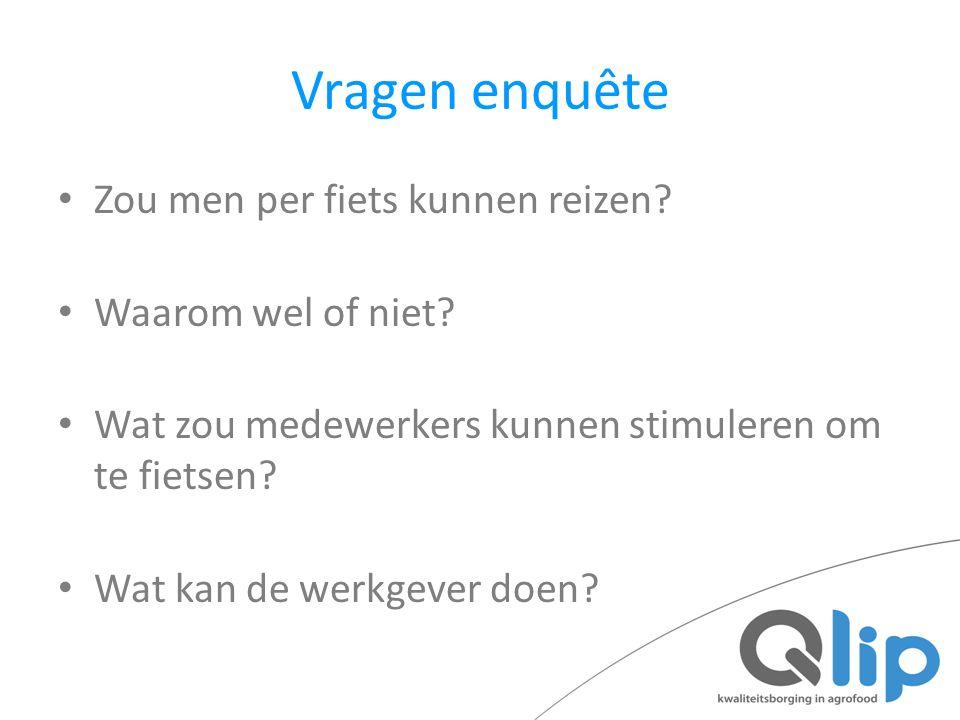 Vragen enquête Zou men per fiets kunnen reizen? Waarom wel of niet? Wat zou medewerkers kunnen stimuleren om te fietsen? Wat kan de werkgever doen?