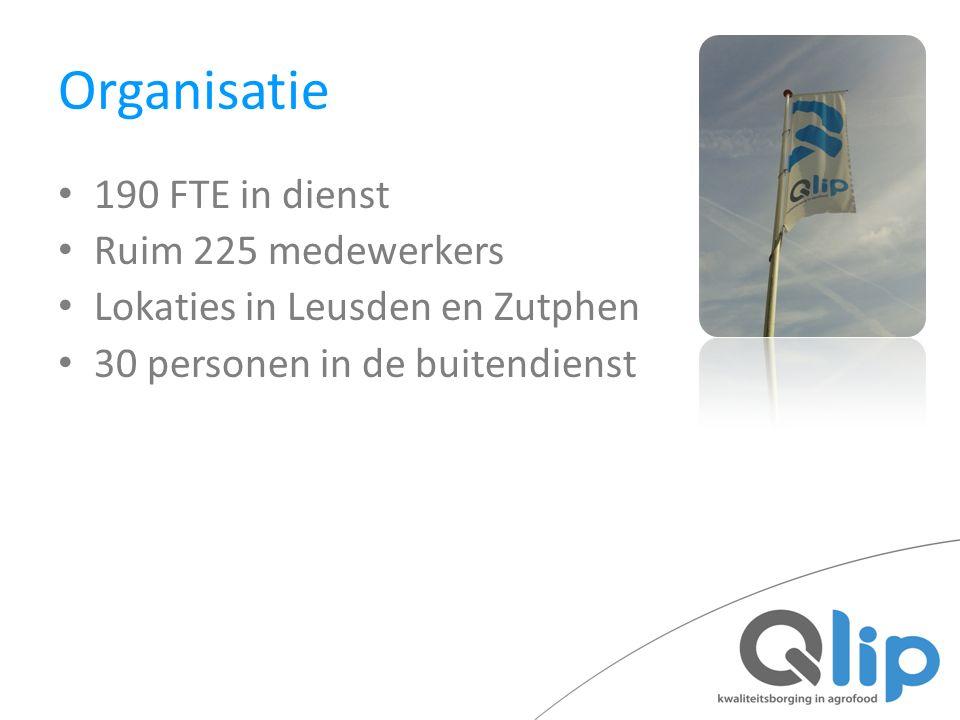 Organisatie 190 FTE in dienst Ruim 225 medewerkers Lokaties in Leusden en Zutphen 30 personen in de buitendienst