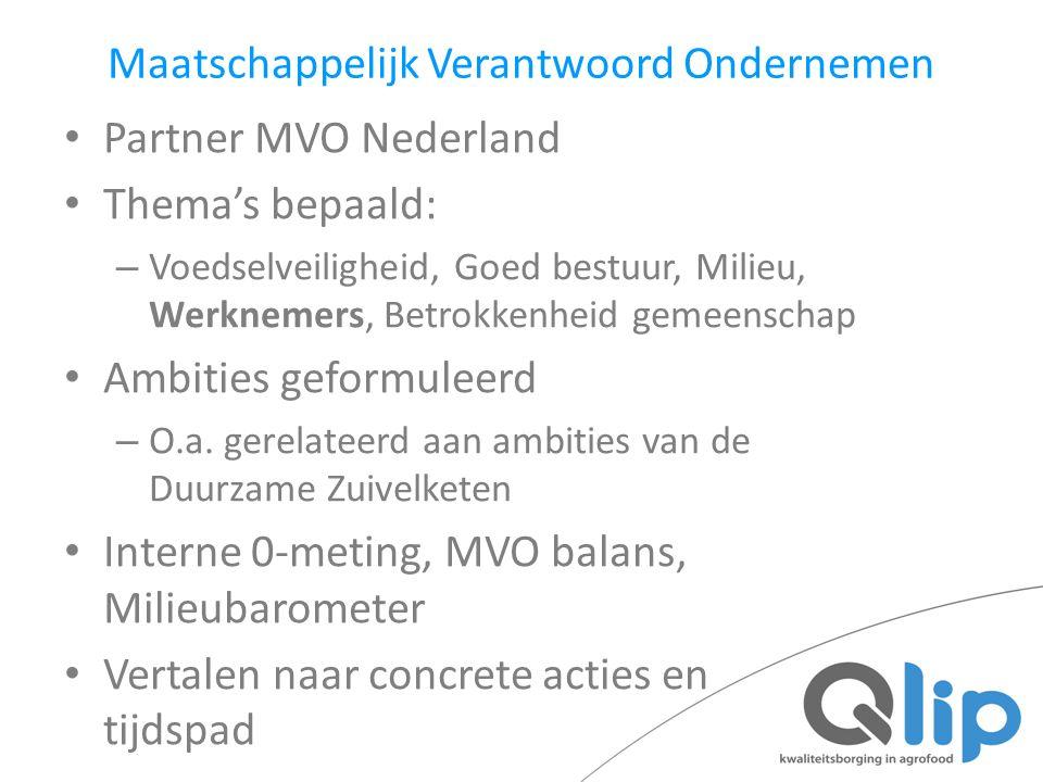 Maatschappelijk Verantwoord Ondernemen Partner MVO Nederland Thema's bepaald: – Voedselveiligheid, Goed bestuur, Milieu, Werknemers, Betrokkenheid gem