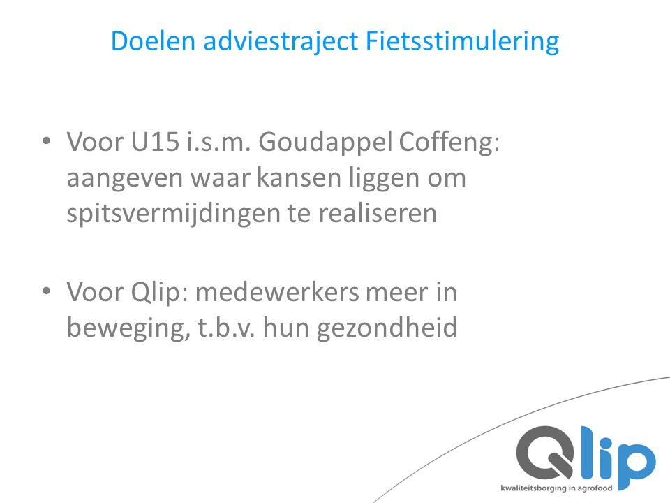 Doelen adviestraject Fietsstimulering Voor U15 i.s.m. Goudappel Coffeng: aangeven waar kansen liggen om spitsvermijdingen te realiseren Voor Qlip: med