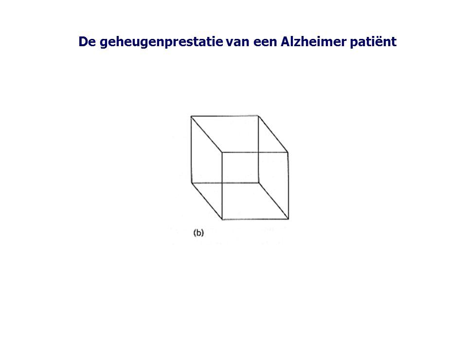 De geheugenprestatie van een Alzheimer patiënt