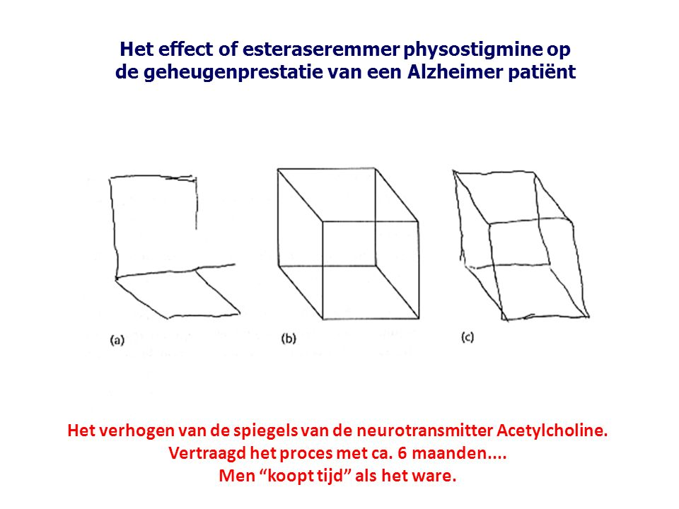 Het verhogen van de spiegels van de neurotransmitter Acetylcholine.