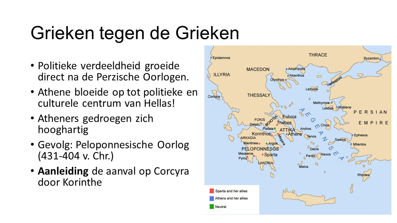 Grieken tegen de Grieken Politieke verdeeldheid groeide direct na de Perzische Oorlogen.