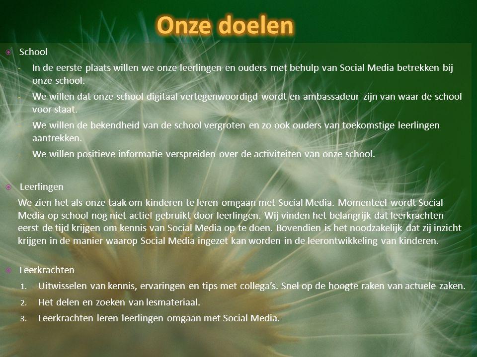  School - In de eerste plaats willen we onze leerlingen en ouders met behulp van Social Media betrekken bij onze school.