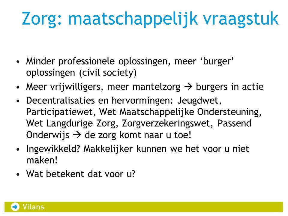 Zorg: maatschappelijk vraagstuk Minder professionele oplossingen, meer 'burger' oplossingen (civil society) Meer vrijwilligers, meer mantelzorg  burg